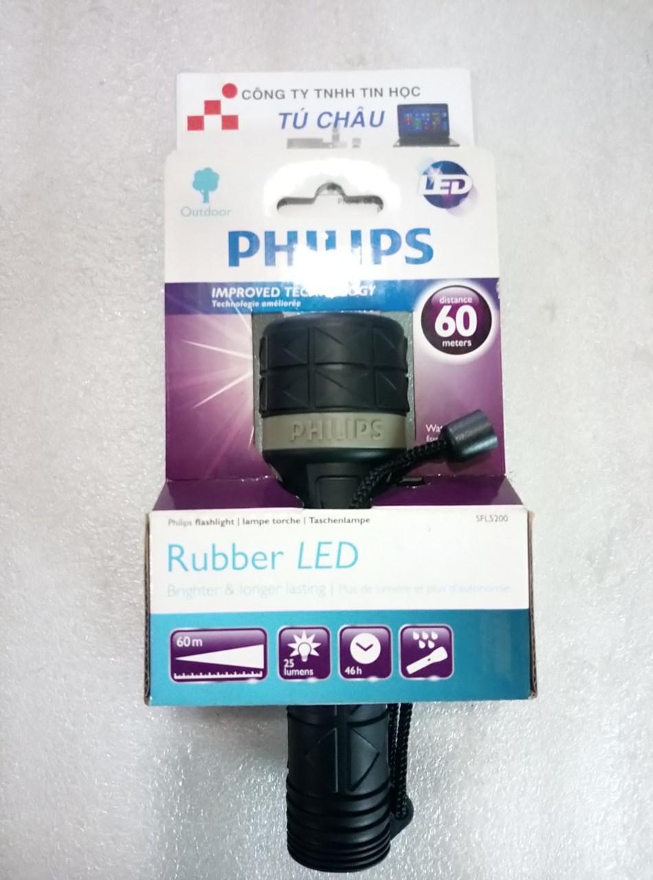 Đèn pin Philips Rubber Led: SFL5200-10, Led Torch, 60m, sáng
