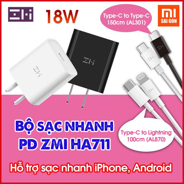 Giá Bộ sạc nhanh PD USB-C ZMI 18W HA711 - Cáp Type C to Lightning ZMI AL870 - Cáp Type C To Type C  ZMI AL301 (Chọn mua Củ Sạc hoặc Củ Sạc+Cáp)