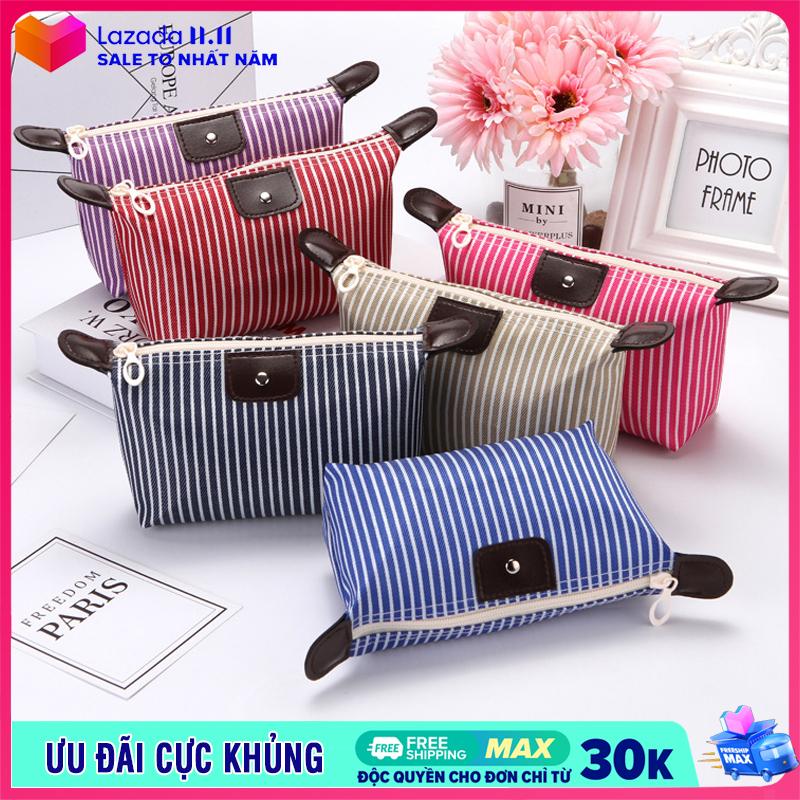 Túi đựng mỹ phẩm trang điểm chống thấm kẻ sọc túi mỹ phẩm cá nhân nhỏ gọn tiện lợi IW-T023
