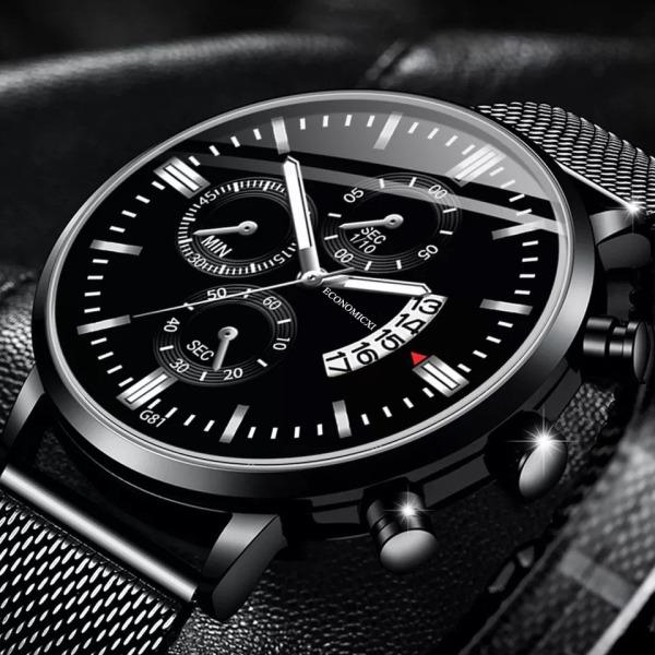 Đồng hồ nam ECONOMICXI dây thép lụa đen có lịch ngày cao cấp - thiết kế nam tính (Full hộp) bán chạy