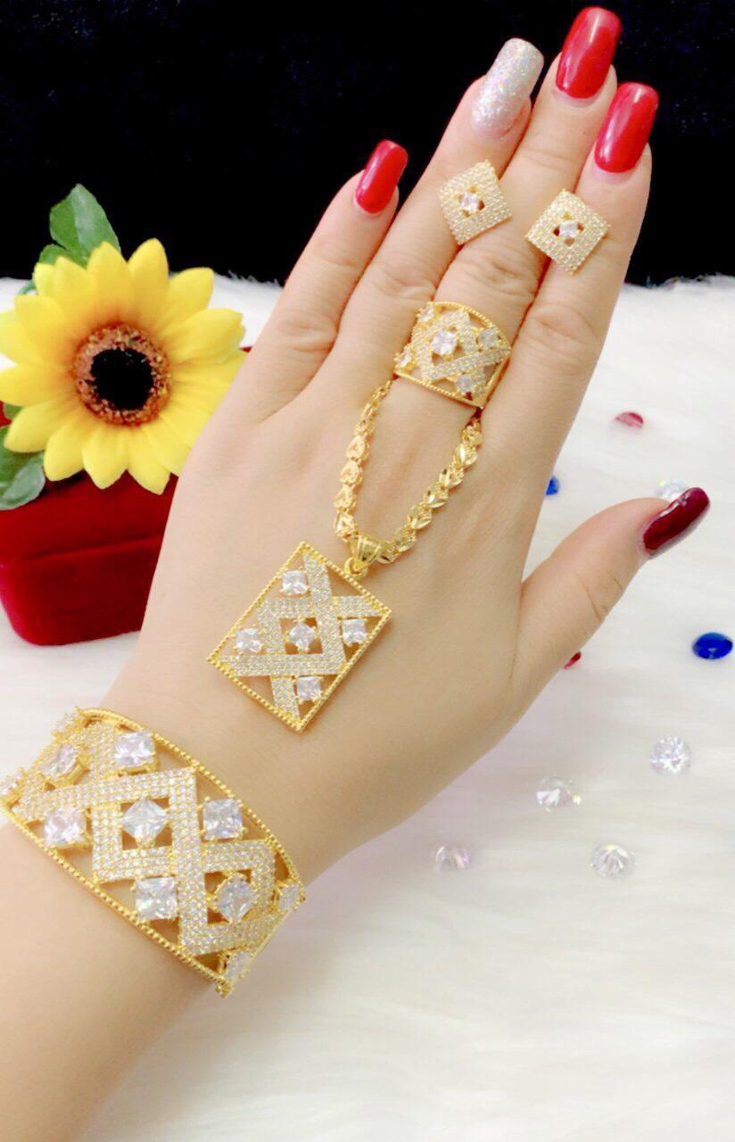 Bộ Trang Sức Giá Rẻ - Givishop - B40907166 - [ Chất liêu bạc pha, cam kết không đen không dị ứng ] - bộ trang sức vàng 18k, vàng trang sức, bộ trang sức vàng tây, bộ trang sức vàng trắng, bộ trang sức vàng, bộ trang sức cưới vàng 24K