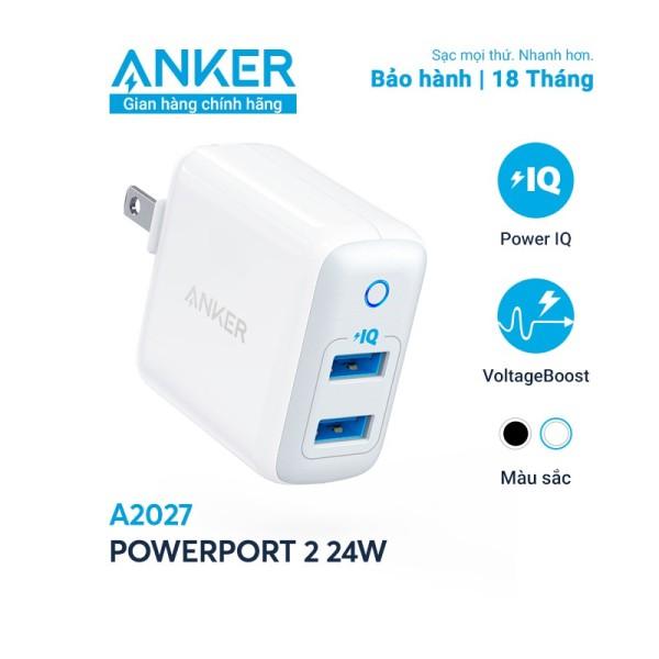Sạc ANKER PowerPort II 2 cổng PowerIQ 24W - A2027 - Hàng Chính hãng - Củ sạc iphone
