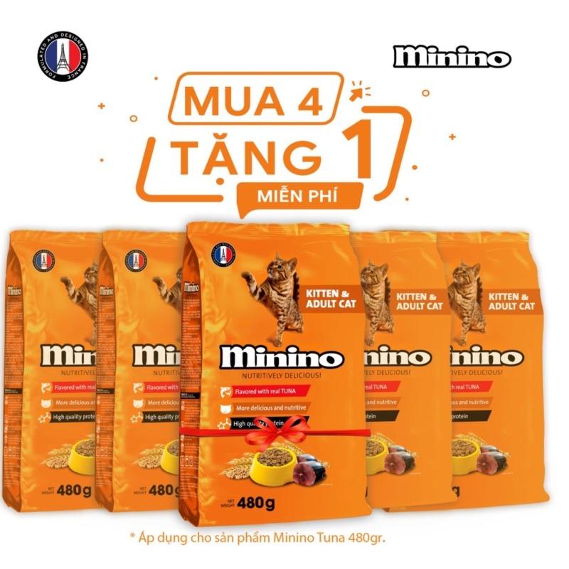 Combo Thức ăn cho mèo Minino Tuna Flavored 480gr - Mua 4 tặng 1