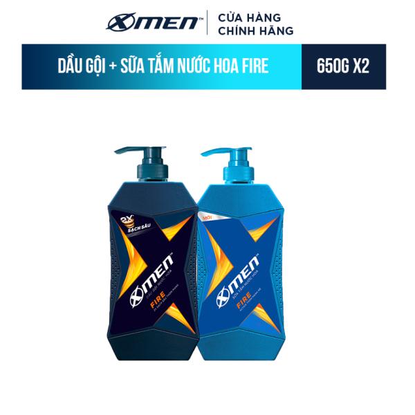 Combo Dầu Gội X-Men Nước hoa Fire 650g và Sữa Tắm X-Men Nước hoa Fire 650g