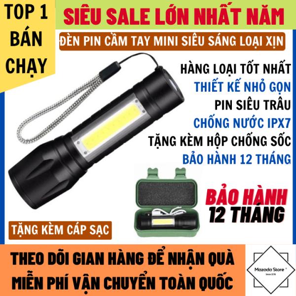 Đèn Pin Siêu Sáng Mini Có Đèn Phụ Bên Cạnh Chống Nước IPX7 Bảo Hành 12 Tháng, Đèn pin chống trộm, đèn pin, đèn pin siêu sáng, Đèn pin cầm tay