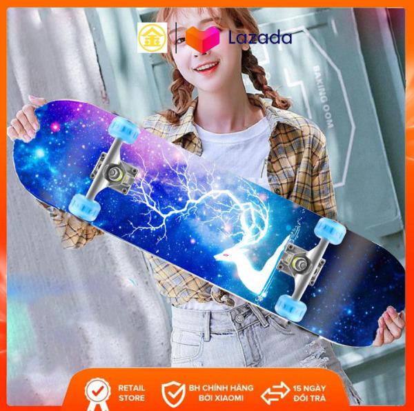 Phân phối ván trượt thể thao có đèn led skateboard I Ván trượt gỗ phong ép 7 lớp mặt nhám - KIM STORE 89