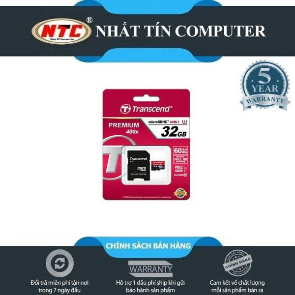 [SALE OFF] Thẻ Nhớ MicroSDHC Transcend Premium UHS-I 400X 32GB 60MB/s - kèm adapter (Đen đỏ)