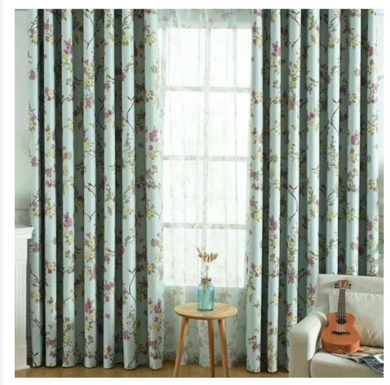 Rèm vải dày che nắng tốt hoa nền xanh 1m x 1.35m dài