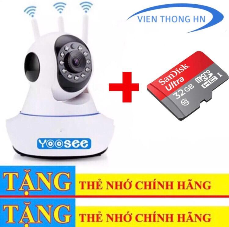 Camera Yoosee Wifi Ip Xoay 360 ĐỘ 3 RÂu 720p New - KÈm ThẺ NhỚ 32gb By Vien Thong Hn.
