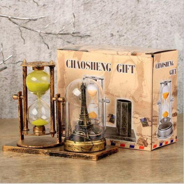 Nơi bán Mô hình tháp Eiffel có đèn phát sáng kèm đồng hồ cát trang trí phong cách Châu Âu sang trọng, hiện đại - vật dụng trang trí, quà tặng ý nghĩa