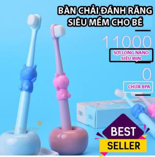 [ HOT] Bàn chải đánh răng Trẻ em - cho bé từ 1-4 tuổi, bàn chải sợi tơ siêu mềm, an toàn chho nướu, rơ lưỡi cho bé, dụng cụ vệ sinh răng miệng, TuliFly Store thumbnail