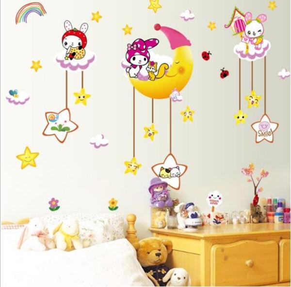 Decal trang trí tường - Thỏ Trắng đáng yêu vui chơi cùng Trăng Sao