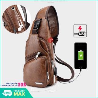 Túi đeo chéo nam da cao cấp CLASSIC có cổng sạc USB và lỗ tai nghe thời trang - Túi đeo chéo nam cao cấp L1 thumbnail