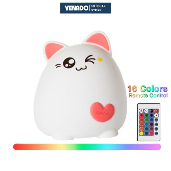 Đèn ngủ Silicone cảm biến đổi màu hình Mèo Ú kiểu đứng cực dễ thương Có loại điều khiển từ xa Venado