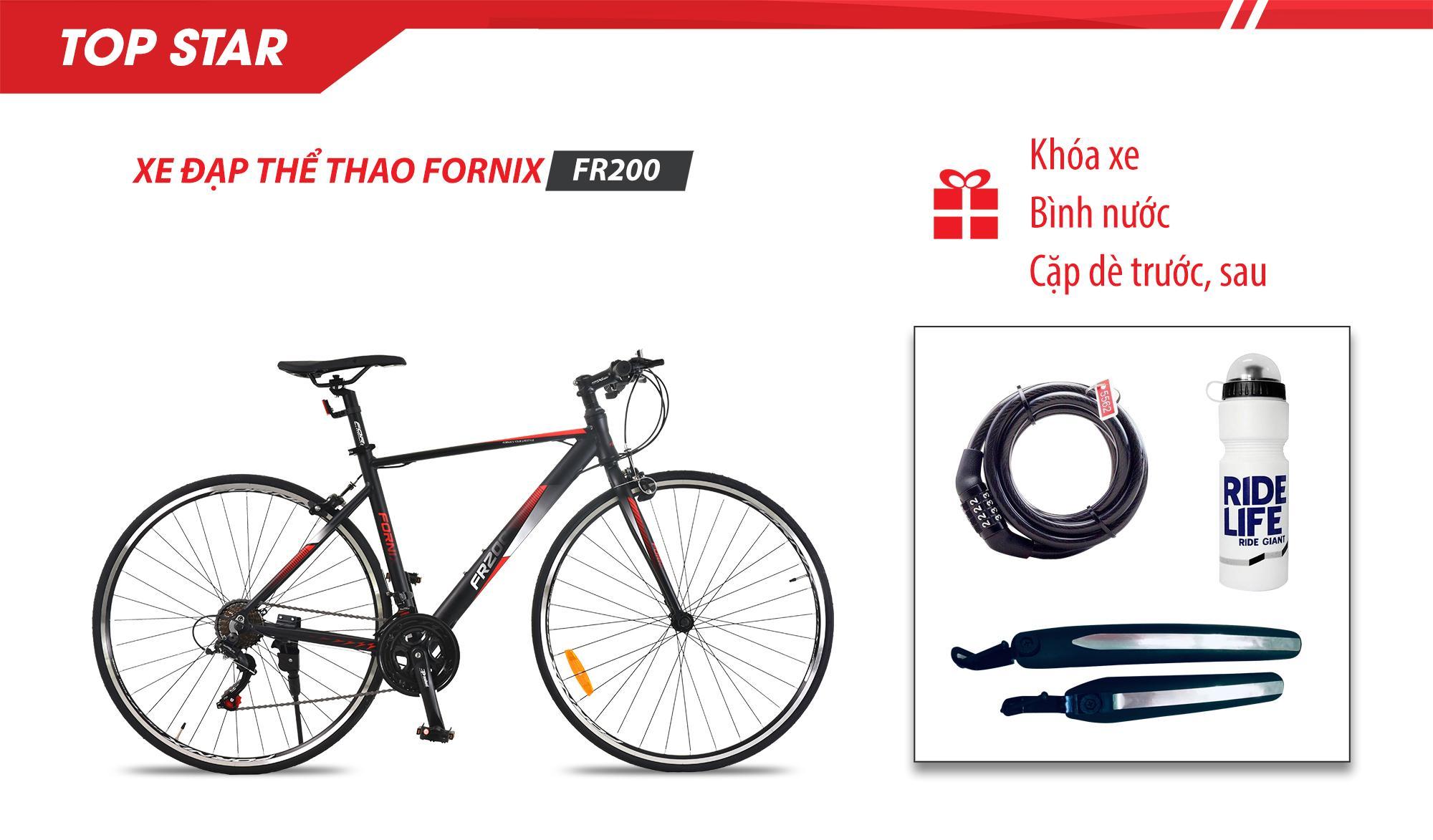 Mua Xe đạp thể thao FR200-Vòng bánh 700C- Bảo hành 12 tháng + (gift) Bình nước, Khóa xe cao cấp, Cặp dè