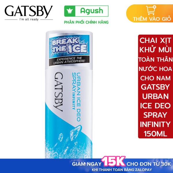 Chai nước xịt khử ngăn mùi hương nước hoa Gatsby Urban Ice Deo Men Body Spray Infinity bình 150ml cho nam thơm lâu toàn thân ngăn mồ hôi cơ thể cao cấp diệt khuẩn hương nước hoa khô thơm mát lạnh bỏ túi giá rẻ