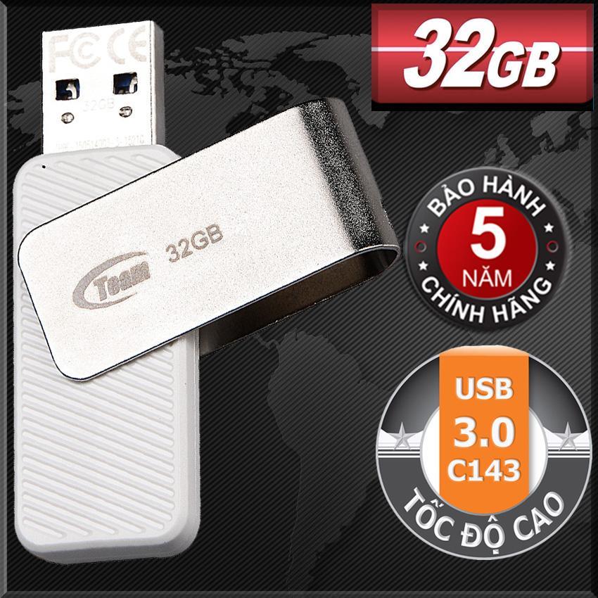USB 3.0 32GB Team Group INC C143 (Trắng) Tốc độ Cao - Hãng Phân Phối Chính Thức Giá Sốc Không Thể Bỏ Qua