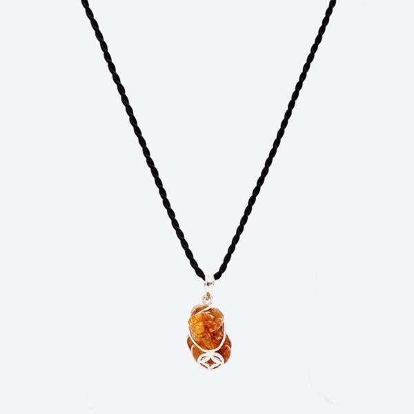 Mặt dây chuyền đá thạch anh tóc cam tỳ hưu bọc bạc mệnh hỏa,thổ (màu cam) - Ngọc Quý Gemstones