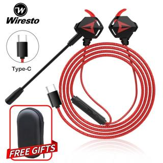 Wiresto Gaming Earphone In Ear Headphones Wired Earbuds Sport Noise Cancelling Stereo Headset with Microphone Dual Driver Super Bass Free Case thumbnail