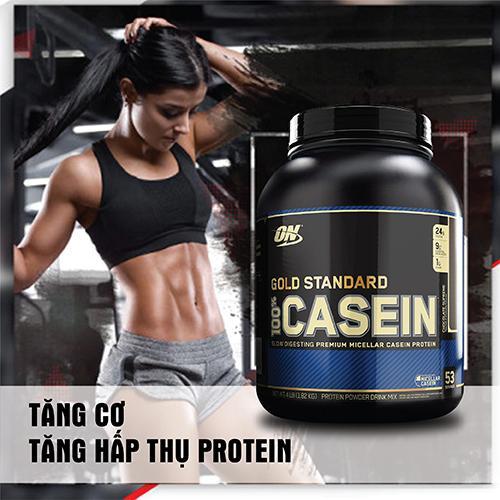 CASEIN GOLD STANDARD CHOCOLATE 4LB - 1.82 kg - Tăng cơ ban đêm cho Thể thao, Gym, Yoga, Fitness + Khăn tập sợi tự nhiên