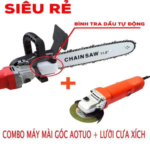 Combo Máy mài góc Aotuo + Lưỡi cưa xích - Lưỡi cưa xích -  Máy mài góc aotuo máy cưa cầm tay siêu rẻ -  máy mài góc - máy chà nhám - cưa cành - cắt gỗ - lưỡi lam cắt gỗ