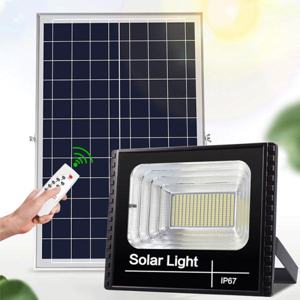 Bảng giá Đèn LED năng lượng mặt trời 100W Ánh sáng trắng Có điều khiển từ xa tiện lợi và thông minh Thân Vỏ Nhôm Tiêu chuẩn chống nước và chống bụi IP67