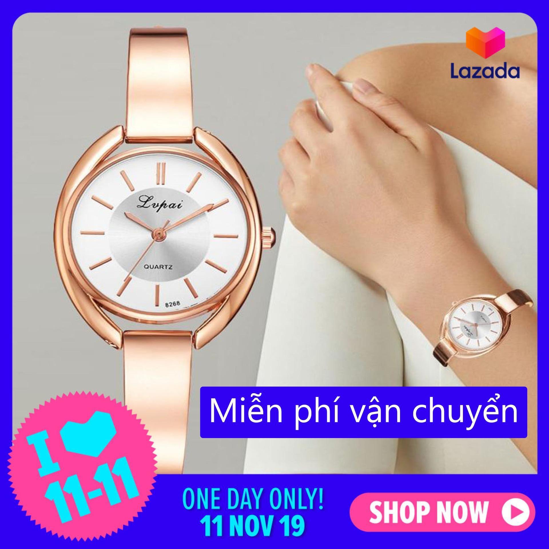 Nơi bán Đồng hồ nữ sang trọng thiết kế đơn giản nữ tính thời trang Hàn Quốc chất liệu thạch anh cao cấp- HZP