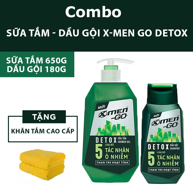 Combo Sữa tắm X-Men Go Detox 650g + Dầu gội X-Men Go Detox 180g (Tặng khăn tắm cao cấp trị giá 80k)