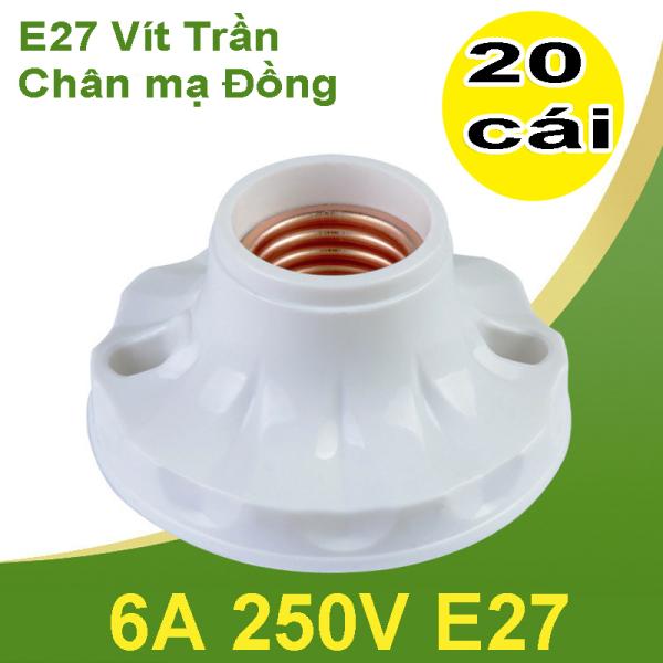 Sỉ 1 hộp 20 cái Đuôi đèn kiểu xoáy ốp trần,tường loại thẳng 6A 250V E27 chân mạ đồng