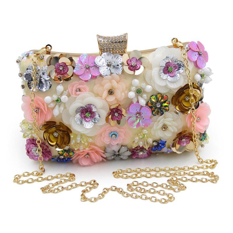 Women Clutches Colorful Flower Evening Bag Sequins Clutch Purse