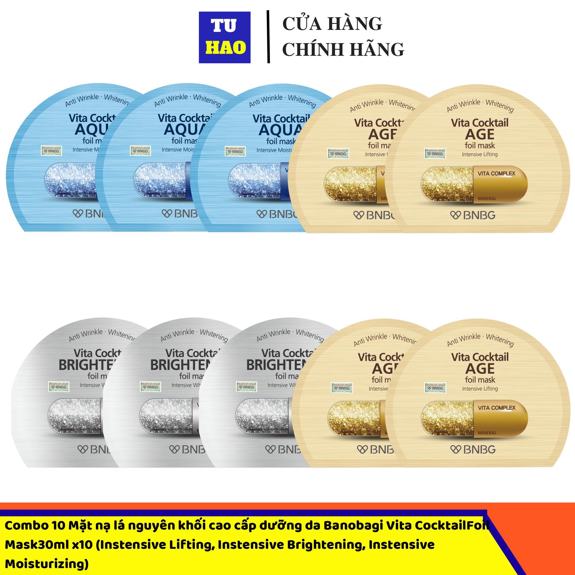 Hộp 10 Mặt nạ lá nguyên khối cao cấp dưỡng da BNBG Vita Cocktail Foil Mask30ml x10 (Instensive Lifting, Instensive Brightening, Instensive Moisturizing) cao cấp