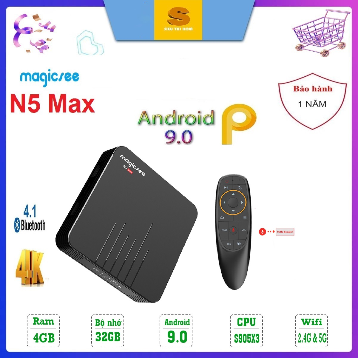 Giá Quá Tốt Để Mua [Có Video] Android Tivi Box Magicsee N5 Max - Ram 4GB, Rom 32GB, Android 9.0 - Chiến Liên Quân, PUPG, Xem Phim Tốc độ Cao - Bảo Hành 1 Năm