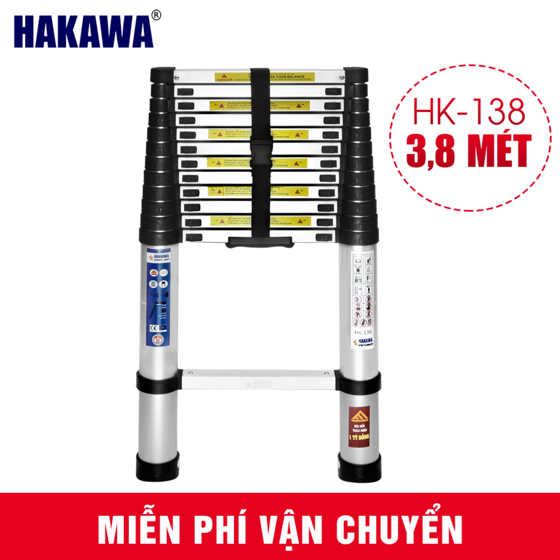Thang Nhôm Rút Đơn Nhật Bản Chính Hãng Hakawa + 3,8 mét + Thang nhôm chuyên dụng cho thợ điện + Bảo hành chính hãng 2 năm
