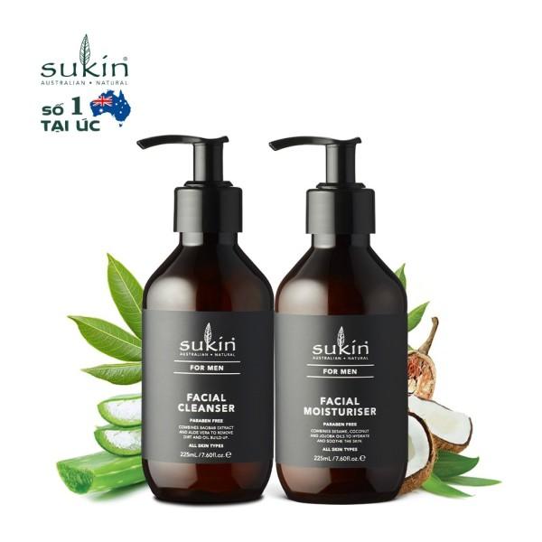 Bộ Chăm Sóc Da Mặt Cho Nam Sukin For Men Sữa Rửa Mặt Men Facial Cleanser 225ml + Kem Dưỡng Ẩm Men Facial Moisturiser  225ml cao cấp