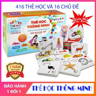 Bộ thẻ học thông minh cho bé, bộ thẻ học 16 chủ đề 416 thẻ Flashcard song ngữ Anh Việt giúp trẻ thông minh, phát triển trí não thumbnail