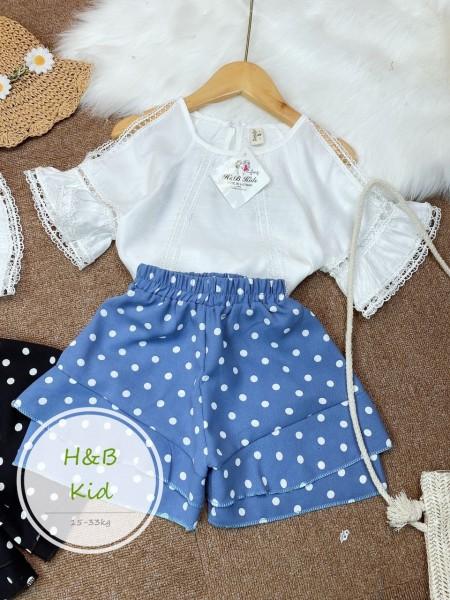 {free ship cho đơn hàng 150k Bộ quần áo cho bé gái tuổi teen mới, Bộ đồ mùa hè, áo thun ngắn tay + quần short 2 món đồ cotton cho bé từ 1-6 tuổi