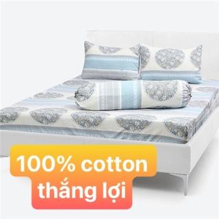 Bộ drap cotton Thắng Lợi 4 món hoặc drap LẺ - Chuâ n logo trên vải thumbnail