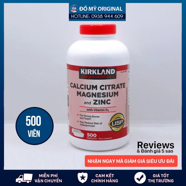 Viên Uống Calcium Citrate Magnesium And Zinc With Vitamin D3 Hộp 500 Viên Của Kirkland Nhập Mỹ Bổ Sung Canxi, Magie Và Kẽm Với Vitamin D3