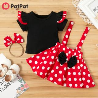 Bộ áo và váy PatPat họa tiết chấm bi ngọt ngào màu đỏ, vải 100% cotton mềm mại và thoải mái dành cho bé gái-Z - INTL