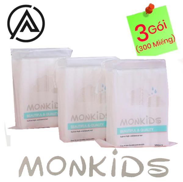 COMBO 3 gói bông tẩy trang 100% cotton 3 lớp mềm mịn thấm hút cực tốt 300 miếng BTT02AZ - Thương Hiệu MONKIDS giá rẻ