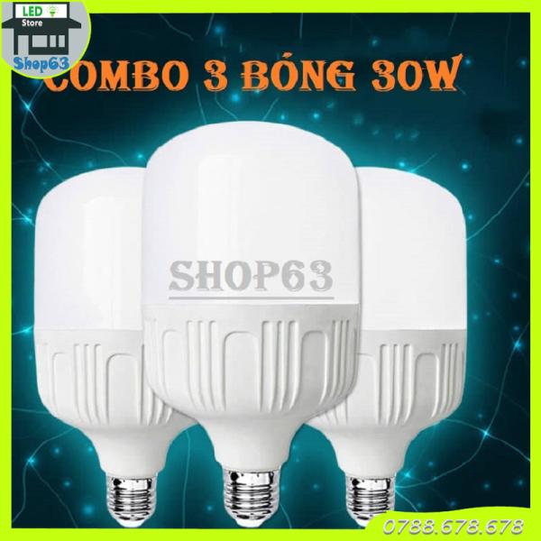 Combo 3 bóng đèn 30W trụ tròn ánh sáng trắng - siêu sáng tiết kiệm điện tối ưu (bảo hành 12 tháng) - sản xuất tại Việt Nam