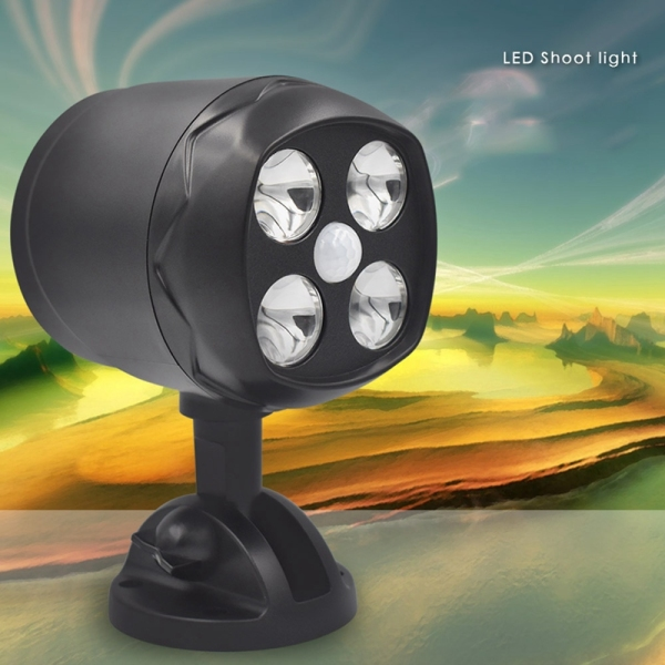 360 Degree Rotary Motion Sensor Spotlight IP65 Waterproof 4LED Outdoor Lights Battery Operated Lamp Security Lights for Wall Singapore