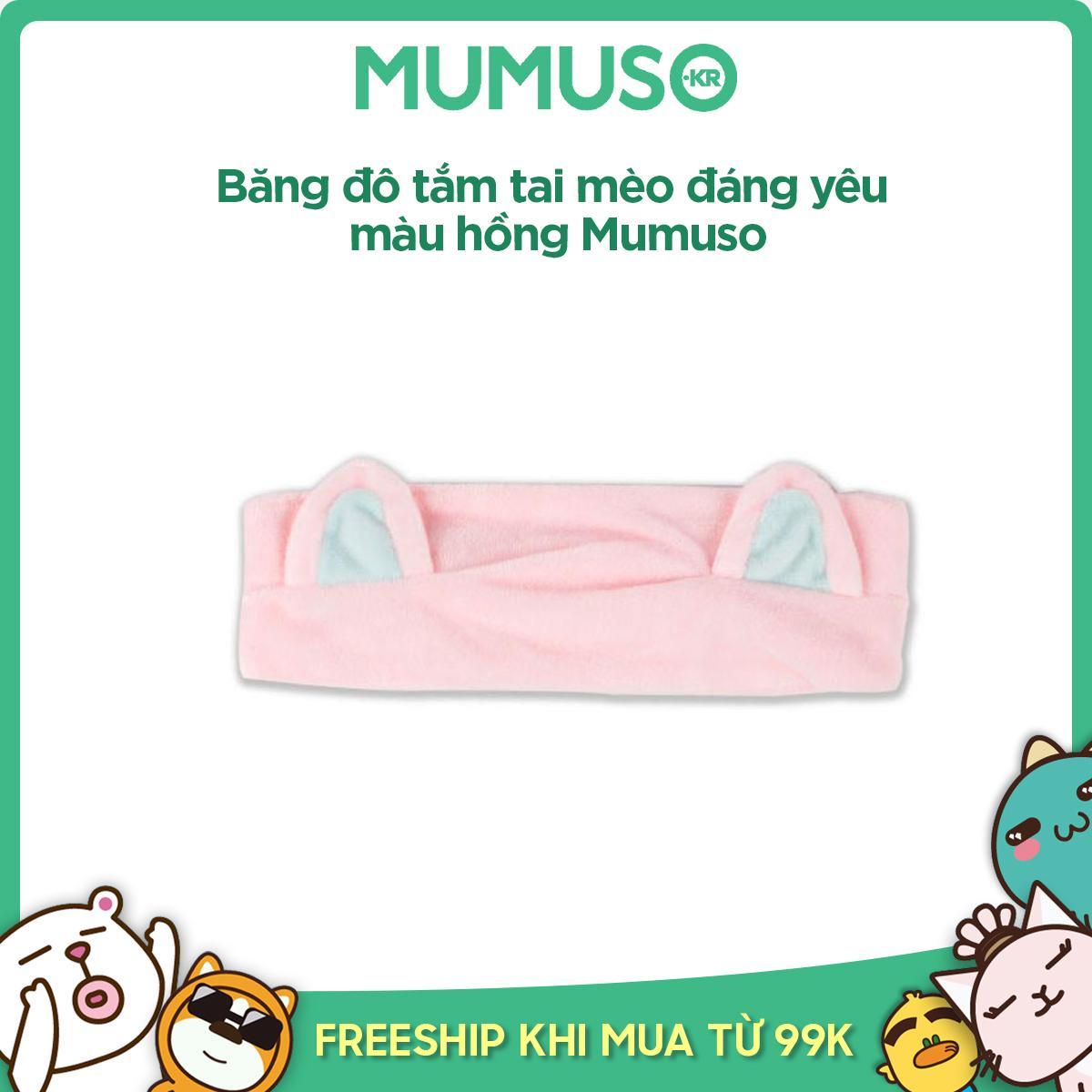 Băng đô tắm tai mèo đáng yêu màu hồng Mumuso nhập khẩu