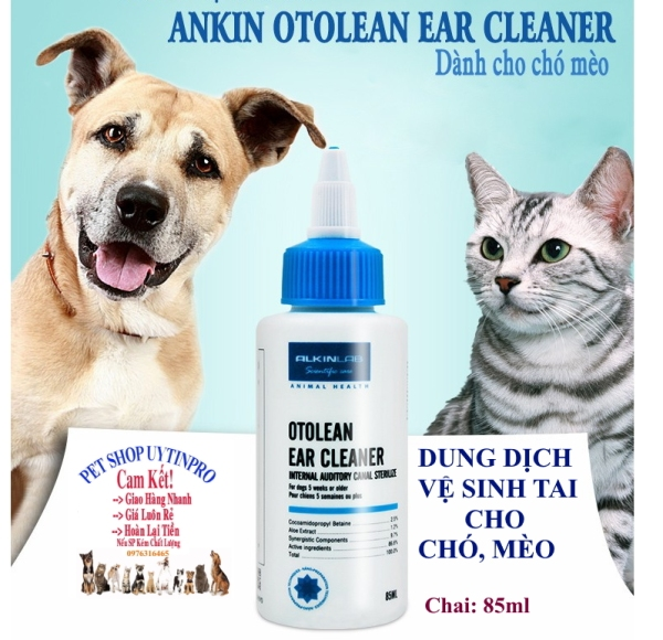 DUNG DỊCH VỆ SINH TAI CHO CHÓ MÈO THÚ CƯNG Alkinlab Otolean Ear Cleaner Chai 85ml Loại bỏ hôi tai Lấy đi cặn bẩn