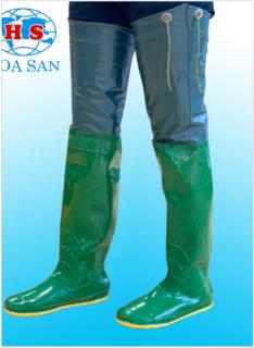 Ủng đùi, ủng dài lội nước 2 lớp Hoa San đế vàng cứng size 36-43 thumbnail