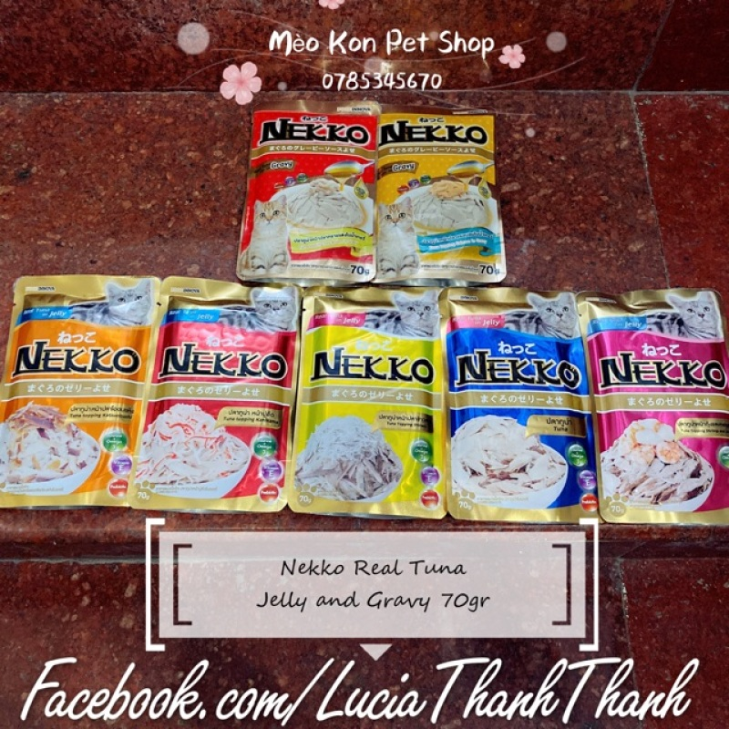 Thức ăn pate cho mèo Nekko Jelly & Gravy bịch 70 gr