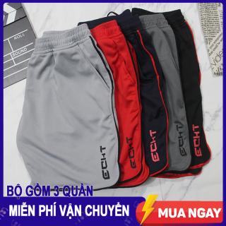 Combo 3 Quần đùi Nam - Thể thao tập gym ECHT - Chất liệu vải mè poly nhập khẩu, logo in tranfer firm không thể bong tróc, 2 túi 2 bên hông, lưng bằng thun co giãn. thumbnail