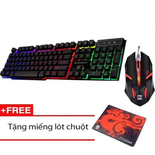 Bảng giá Bộ Bàn phím giả cơ chuyên game K-SNAKE K4 Led Xuyên Phím 7 Màu và Chuột R8 1602 + Tặng kèm tấm lót chuột Phong Vũ