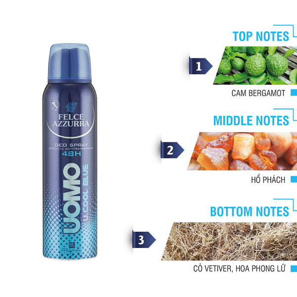 Xịt khử mùi cho nam hương nước hoa cổ điển Ý ngăn mùi suốt 48h Felce Azzurra Man Cool Blue 150ml