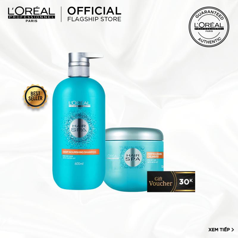 [Tặng Voucher 30k] Bộ sản phẩm dầu gội & dầu hấp cấp ẩm cho tóc khô LOréal Professionnel Hair Spa nhập khẩu